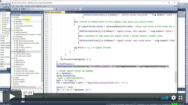 Code Snippets v Amibrokeru